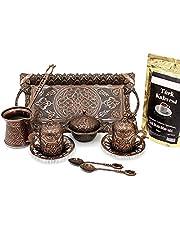 Turkish Greek Arab Coffee Espresso Set for Serving - 100 Gram Turkish Coffee - Porcelain Cups With Large Tray Saucers Pot Sugar Bowl - Vintage Copper Engraved Embroidered Design