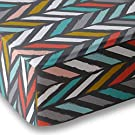 Multicolor Herringbone Crib Sheet for Boys and Girls - Double Brushed Ultra Microfiber Luxury Crib Sheet Set By Where The Polka Dots Roam. Fits a Standard 52 mattress.