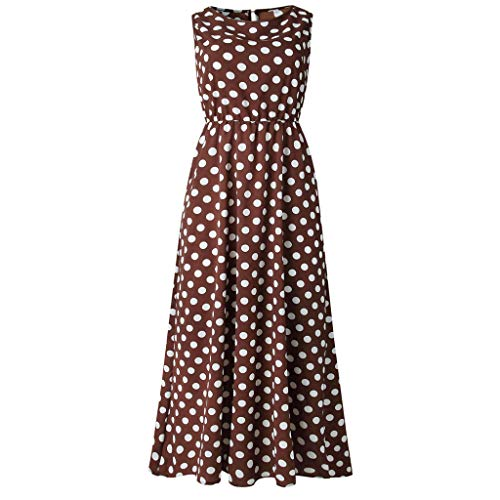 Hot Women Sexy Dot Printing Sleeveless O Neck Long Dress Evening Party Dress Print Polka Dot Round Neck Dress Coffee