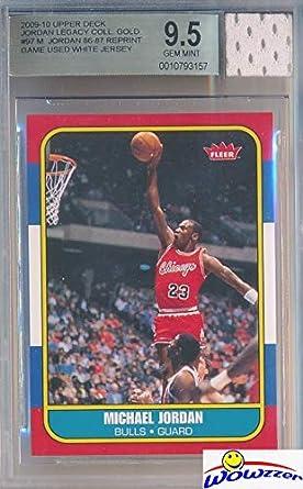 6ea00267d40 1986 Fleer Michael Jordan Rookie Replica with Piece of Authentic Michael  Jordan Chicago Bulls GAME USED