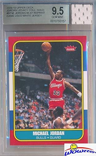 1986 Fleer Michael Jordan Rookie Replica with Piece of Authentic Michael Jordan Chicago Bulls GAME USED JERSEY BGS 9.5 GEM MINT GGUM Card! WOWZZER!
