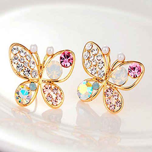 SPHTOEO Cute Adorable Pearl Crystal Rhinestone Butterfly Earrings Studs