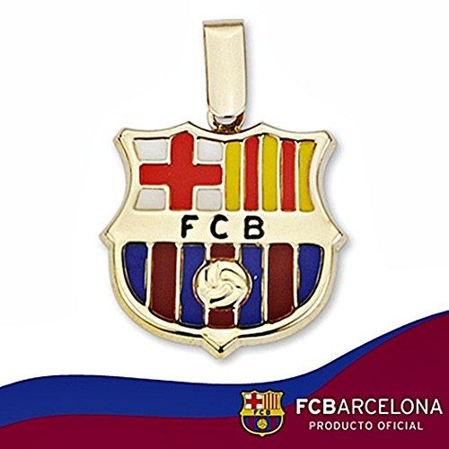 Bouclier pendentif F.C. Barcelona loi 9k 20mm d'or. émail [6531] - Modèle: 0510-012