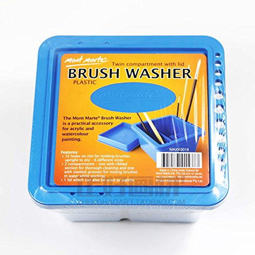 Melleco Artist Brush Washer Cleaner Bath Holder Mont Marte Twin Compartment Painting Lid, Plastic