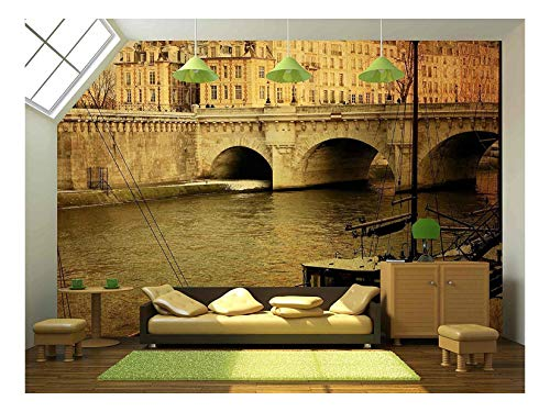 Street Parisian - wall26 - Beautiful Parisian Streets - with Space for Text or Image - Removable Wall Mural | Self-Adhesive Large Wallpaper - 100x144 inches