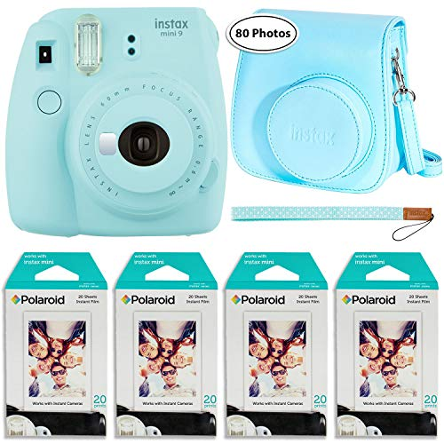 Fujifilm Instax Mini 9 Instant Camera (Ice Blue), Groovy Case and 4X Twin Pack Instant Film (80 Sheets) Bundle
