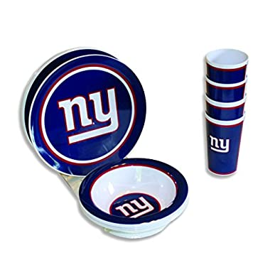 Motorhead Products New York Giants 12-Piece Melamine Dinnerware Set