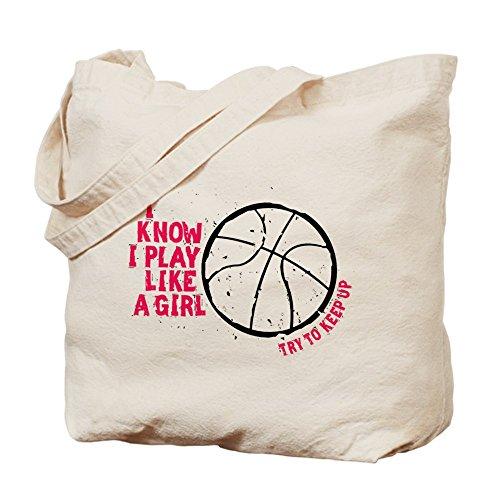 CafePress–Jugar al baloncesto como una niña–Gamuza de bolsa de lona bolsa, bolsa de la compra