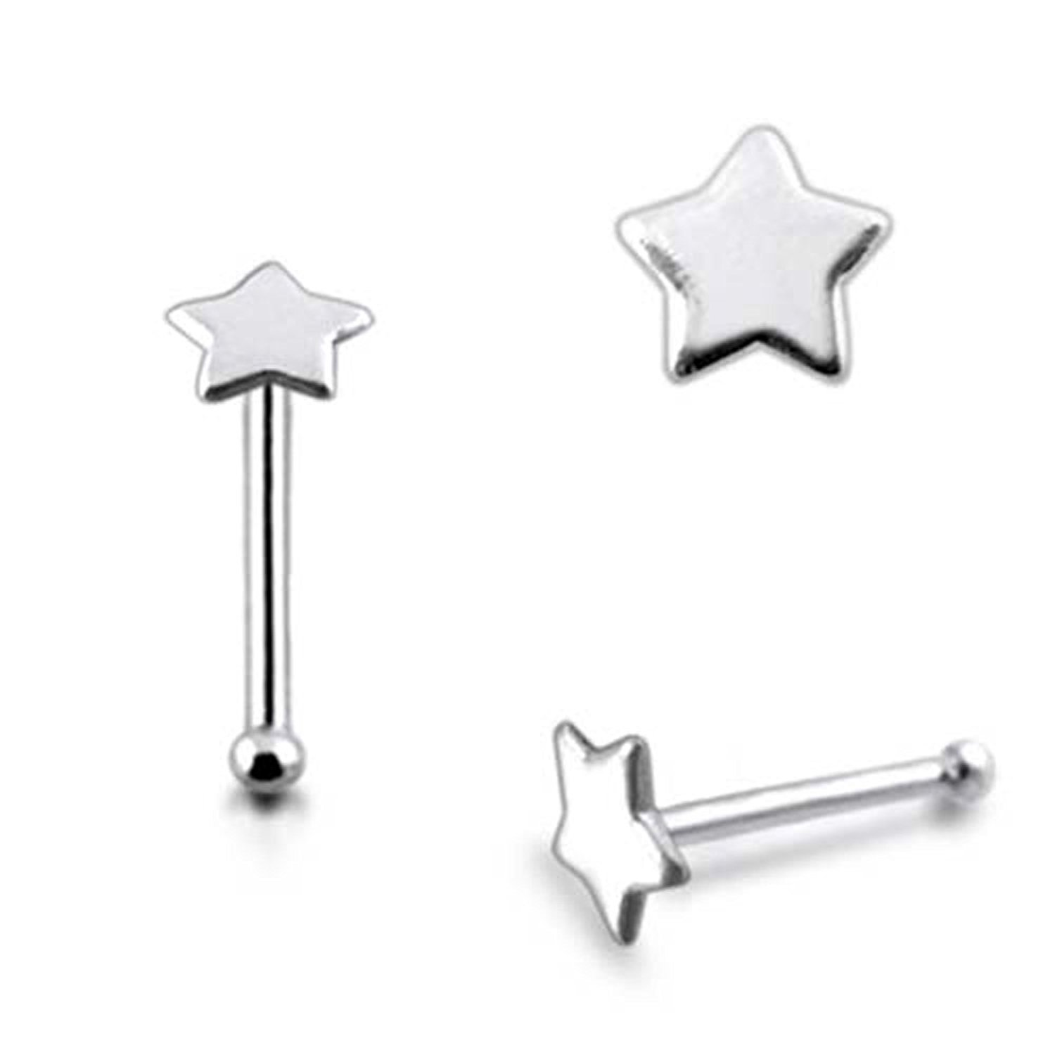 Flat Star Nose Pin 925 Sterling Silver