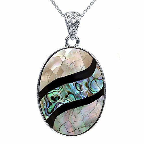Gem Stone King Beautiful Multicolor Abalone Shell Oval Pendant 42x32mm with 18 Inch Chain ()