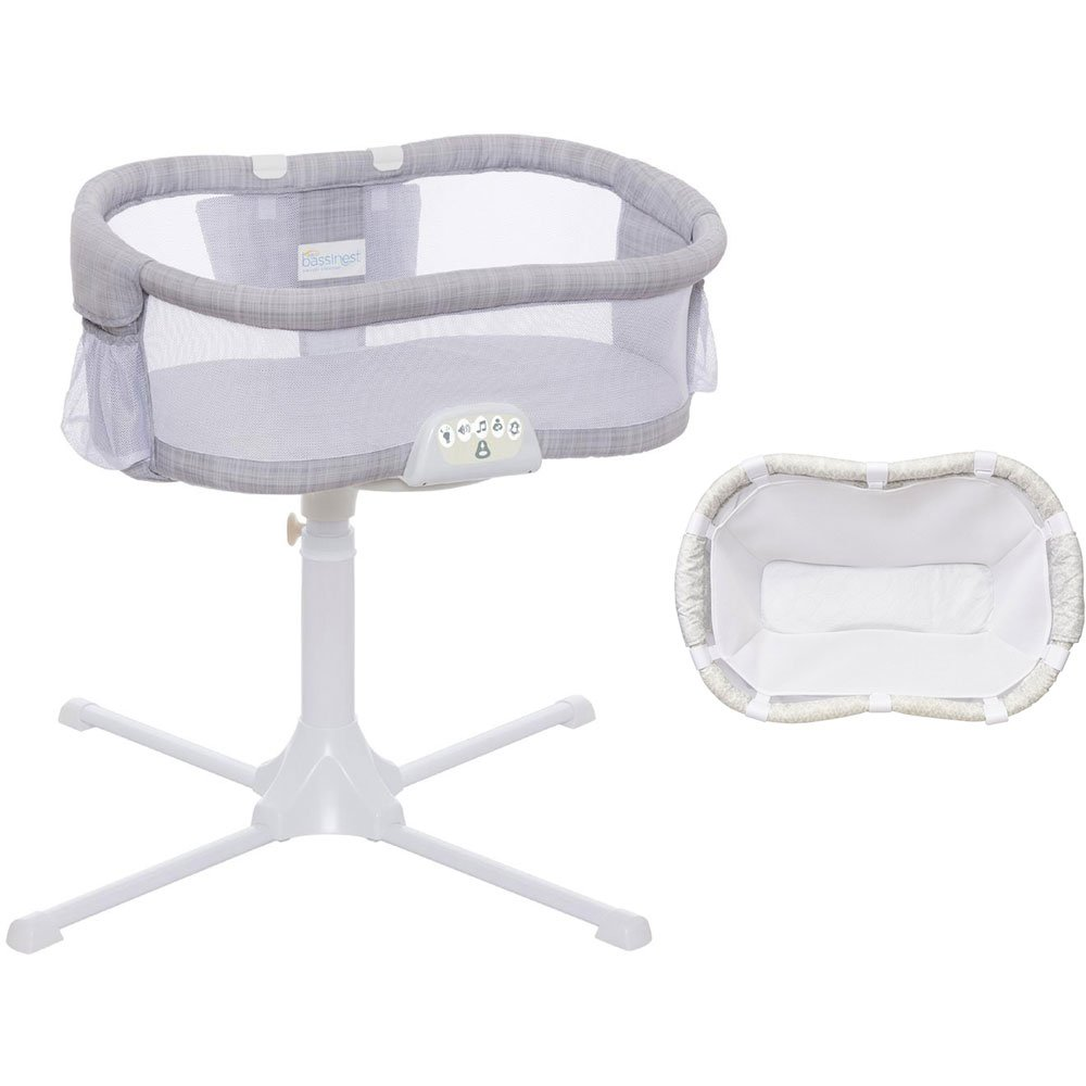 Halo Swivel Sleeper Bassinet Luxe PLUS Series Gray Melange with Newborn Cuddle Insert - White Mesh