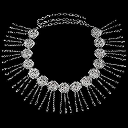 Tassels Rhinestone Waistband MagiDeal Decoration Silver Clothes Girls Belt Waist Womens Dress Chain Bells Ivvwxq4A