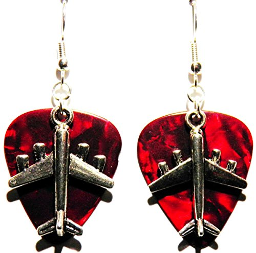 Airplane Charm on Guitar Pick Earrings (Red Guitar ()