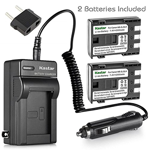 Kastar NB-2L Battery (2-Pack) and Charger Kit for Canon NB-2L NB-2LH NB-2L12 NB-2L14 NB-2L24 BP-2L5 BP-2LH and Canon EOS Digital Rebel XT Xti Cameras (2l14 Replacement Nb)