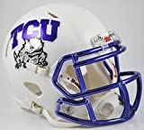 TEXAS CHRISTIAN HORNED FROGS NCAA Riddell Revolution SPEED Mini Football Helmet TCU (WHITE/CHROME)