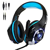Cheap Stereo Gaming Headset for PS4 Xbox One, Beexcellent 3.5mm Bass Over Ear PC Gaming Headphones with Mic/Surround Sound/Noise Isolation/Volume Control/LED Light for Laptop/Mac/iPad/Smartphone/Computer