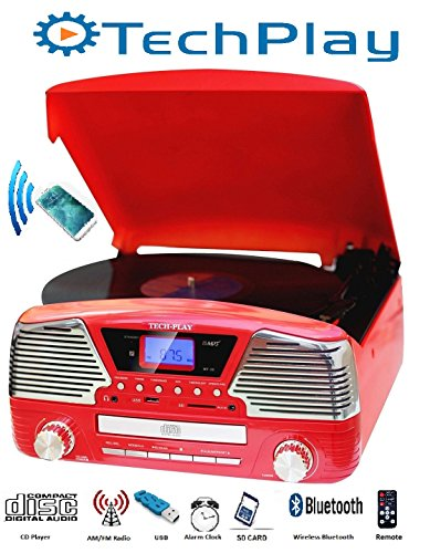 TechPlay ODC35BT RED with Bluetooth, 3 Speed Turntable Programmable MP3 CD Player, USB/SD, Radio & Remote Control