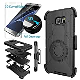 Image of Case-Cubic 2 Galaxy S7 Edge Case,S7 Edge Holster-Dual Layer Armor Defender Protective Case Cover with kickstand Belt Swivel Clip,TPU Curved Edge to Edge HD Screen Protector for Samsung S7 Edge
