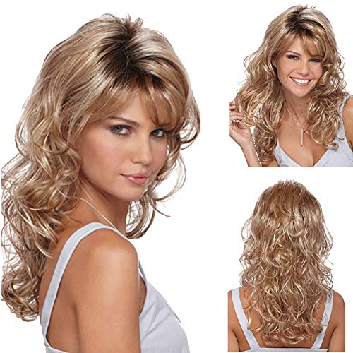 gLoaSublim Long Curly Wig,Women Fashion Long Wavy Curly Hair Cospaly Golden Full Wigs Hair Extension - Golden