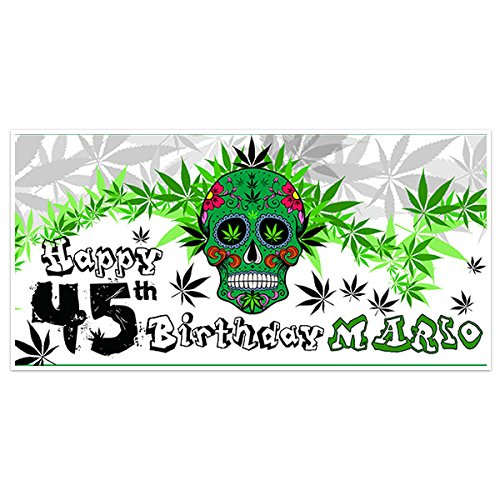 (Marijuana Skull Birthday Banner Personalized Party Backdrop Decoration)