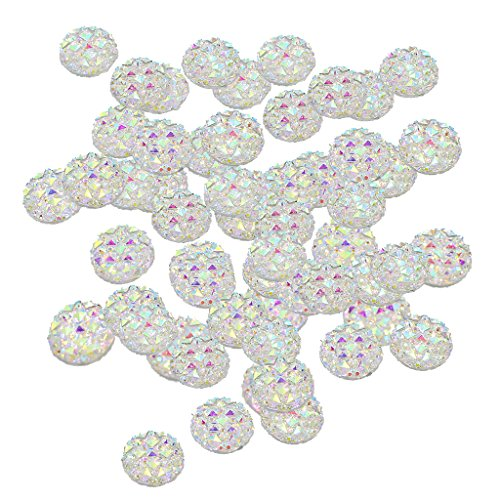 Fityle 50 Pieces Resin Round Flat Back Dotted Rhinestone Cabochon Gem Jewelry Craft 12mm White
