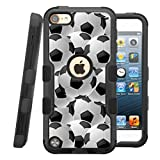 iPod touch 6th Case, HJ Power[TM] For Apple iPod touch 5th / 6th generation ()~NATURAL TUFF Hybrid Rubber Hard Snap-on Case Black Black-Soccer Balls
