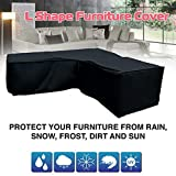 Jcy L-Shaped Sofa Cover, Corner Sofa Dust Cover Outdoor Table Cover, Waterproof and Anti-mite Furniture Cover (300x300x98cm) (Color : Black, Size : 300x300x98)