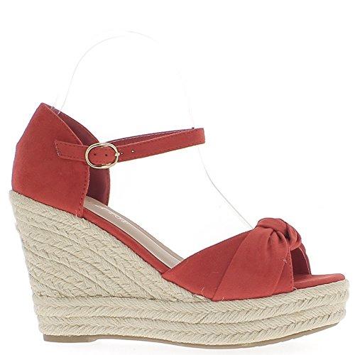 Zapatos deportivos de mujer rojo a 10.5 cm y 3 cm tacón de cuña plataforma