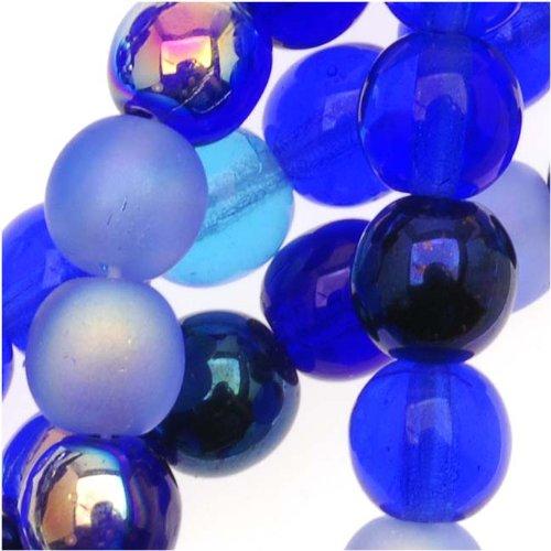 Beadaholique 50-Piece Czech Glass Druk Round Tones Mix Beads, 6mm, Blue (Czech Glass 6mm Druk Beads)