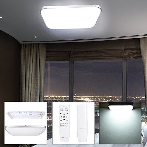 Koval Inc. Dimmable Flush Mount LED Ceiling Light W- Remote (48W Square (Brushed Nickel Short Ceiling Light)