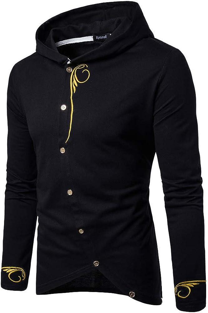 Poundy Mens Shirt Casual Slim Fit Cotton V-Neck Long Sleeve Shirt Mens T-Shirt