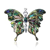 Gorgeous Big Butterfly Multicolor Abalone Shell .925 Sterling Silver Pendant