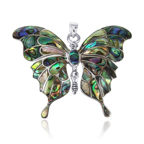 AeraVida Gorgeous Big Butterfly Multicolor Abalone Shell .925 Sterling Silver Pendant