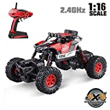 RC Car,4WD 1:16 Scale High Speed Off Road Vehicle Toy Cars,2.4Ghz Radio Controlled Electric Vehicle Rock Crawler Remote Control Car Toys for Kids and Adults,Red (Style-2)
