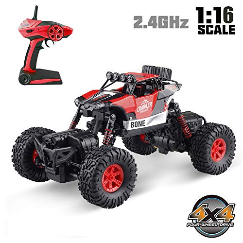 RC Car,4WD 1:16 Scale High Speed Off Road Vehicle Toy Cars,2.4Ghz Radio Controlled Electric Vehicle Rock Crawler Remote Control Car Toys for Kids and Adults?Red (Style-2)