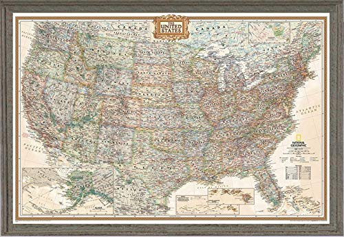 Push Pin United States Map by National Geographic Framed (Farmhouse Barnwood Green Blue Wood Frame)