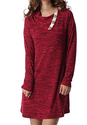 Womens Fall Long Sleeve Button Deco Neck Loose Casual Short Tunic Dress Red M (Boots Sweater Dresses)