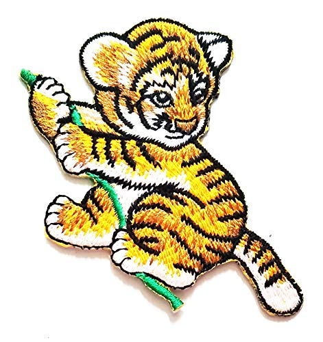 Nipitshop Patches Pretty Tiger Baby Naughty Animal Cartoon Kids Patch Embroidered Iron On Patch for Clothes Backpacks T-Shirt Jeans Skirt Vests Scarf Hat Bag