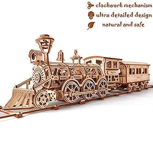 Wood Trick Wooden Toy Train Set w/Railway - Locomotive Train Toy Mechanical Model - 3D Wooden Puzzle, Assembly Constructor, Brain Teaser, Best DIY Toy