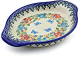 Polmedia Polish Pottery Polish Pottery 8½-inch Saucer (Red Cornflower And Blue Butterflies Theme) Signature UNIKAT + Certificate of Authenticity