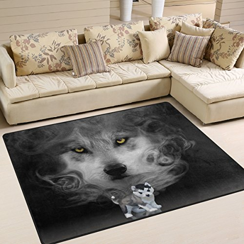 ZOEO Non Slip Area Rugs 5D Diamond Husky Puppy Mirror Wolf Sofa Mat Living Room Bedroom Carpets Doormats Home Decor 5x7 by ZOEO