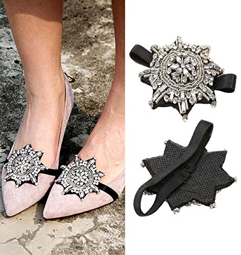 Numblartd Shoe Decoration Charms - 1 Pair Octagon Rhinestone Shoe Straps Band Shoe Flower - Women Lady DIY Flats High Heels and Pumps Holder Shoe Decoration Accessories (White)