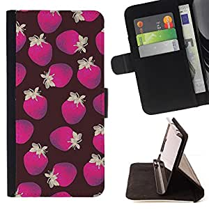 - Queen Pattern FOR LG OPTIMUS L90 /La identificaci????n del cr????dito ranuras para tarjetas tir????n de la caja Cartera de cuero cubie - poly art strawberry brown purple pattern