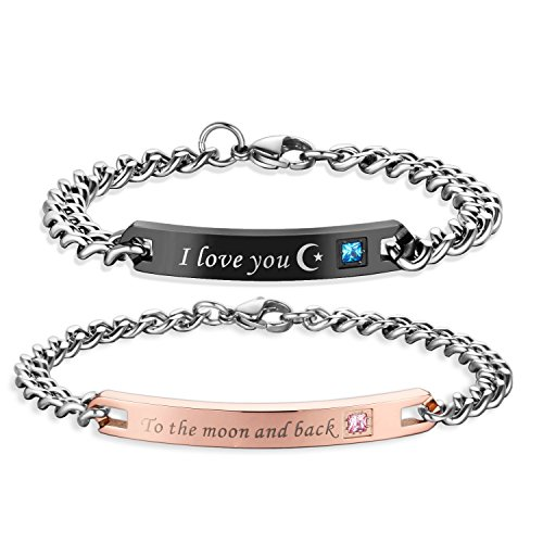 SXNK7 Gift for Lover His Queen Her King Stainless Steel Couple Bracelets For Women Men Jewelry Matching Set