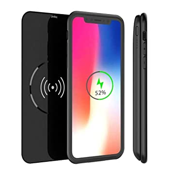 Funda Bateria iPhone X/XS, Mbuynow 5000mAh Qi Inalámbrico Cargador 2 en 1 Batería Cargador Externa Recargable Power Bank Portatil para iPhone X/ 10/ ...