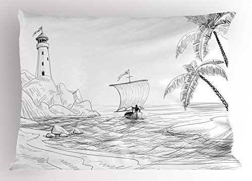 Ambesonne Beach Decor Pillow Sham, Seascape Sketch with Boat Palm Tree and Lighthouse Coastal Hand Drawn Artwork, Decorative Standard Queen Size Printed Pillowcase, 30 X 20 Inches, Black White - Palm Trees Decor Coastal
