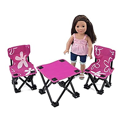 Emily Rose 18 Inch Doll Accessories Furniture for American Girl Dolls   Flowered Doll Camping Chairs and Table Set, Includes Carry Case   Fits 18