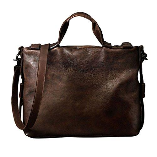 本革 ハンドバッグ メンズ 牛革製 ビジネスバッグ 通勤バッグ 斜め掛 手提げバッグ バック 鞄 レザーカバン 復古風 通勤 旅行 2色 B06XTPTP8J コーヒー