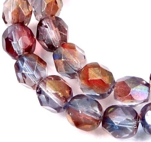 Amethyst Firepolish Round Beads - 25 Pc of Firepolish Czech Glass Faceted Round Beads - Amethyst Blue Crystal