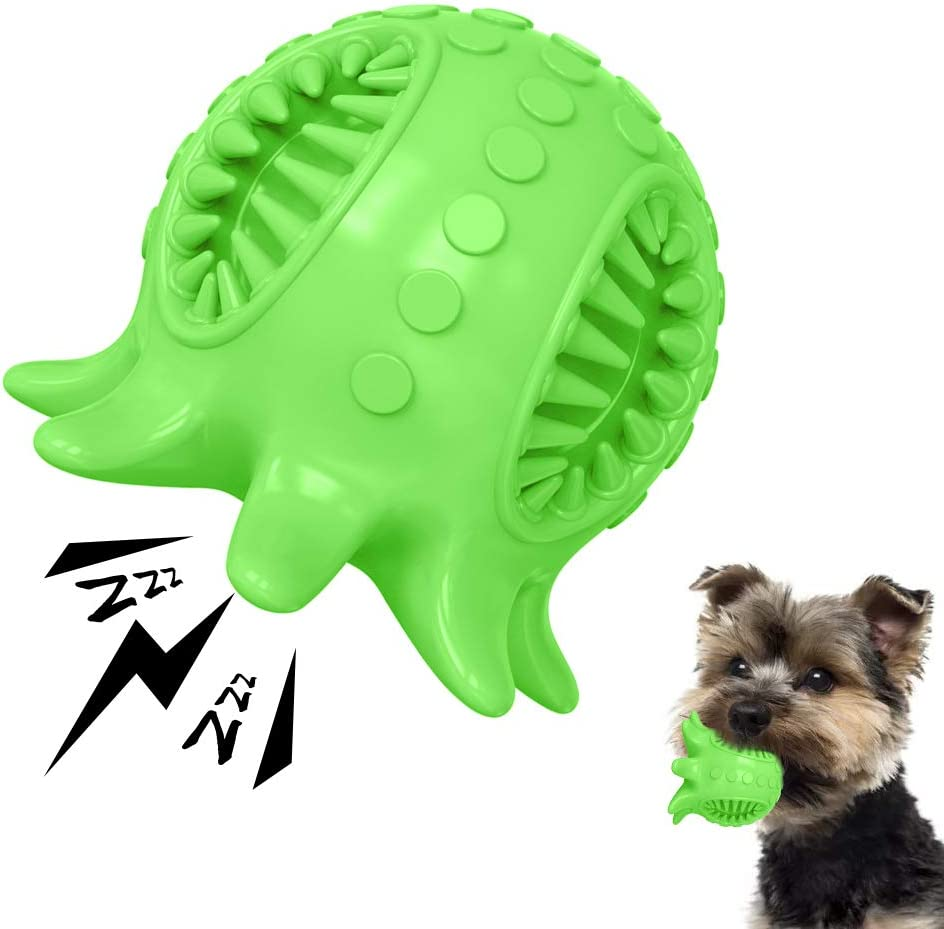 Dog Toy Ball Tooth Cleaning Octopus Shape Jolly Ball for Dogs Chew Squeaky Toys Treat Food Dispensing Ball for Small/Medium Dogs Puzzle Interactive Toy Ball for Puppy (Green)